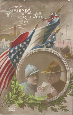 """WWI propaganda postcard depicting American and French soldiers - """"Friends for ever"""""""