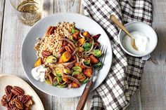 Our January 2018 Recipes are the Best Family-Favorite Recipes: Farro Bowl with Curry-Roasted Sweet Potatoes and Brussels Sprouts