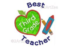 Third Grade Teacher Best Teacher Machine Embroidery Applique Design Apple Crayon Pencil Heart by 2artzee on Etsy
