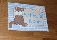 Personalised Baby Name Plaque / Nursery Door Sign Once Upon A Time Design Boys