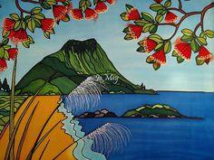 Mt Maunganui beautiful art print by New Zealand artist Jo Plaster Art, New Zealand Art, Nz Art, May Arts, Maori Art, May Designs, Fence Art, Silk Painting, Art Day