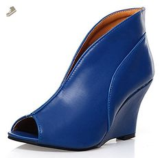 Sfnld Women's Fashion Peep Toe Pumps High Wedges Heel Dress Shoes Blue 9 B(M) US - Sfnld pumps for women (*Amazon Partner-Link)
