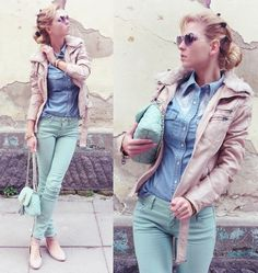 Get the Look: Mint Jeans with a Denim Workshirt Pastel Jeans, Mint Jeans, Mint Pants Outfit, Pretty Outfits, Cute Outfits, Markova, Denim Shirt With Jeans, Colored Denim, Passion For Fashion