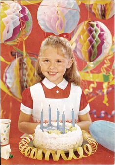 Vintage birthday girl with cake and decorations, circa 1960''s.