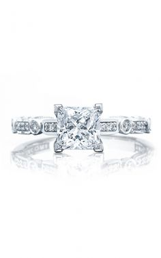 ($2620) Tacori princess cut engagement ring - For the bold Tacori Girl, looking for an engagement ring to show off her unique style. Bezel set brilliant round diamonds are enveloped in circular and rectangular platinum baskets and culminate to the gorgeous princess cut center diamond. #tacori #ring #engagementring #princess #princesscut #ido #proposal