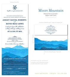 Misty Mountains wedding invitations on 100% recycled paper. Inspired by the Colorado Rockies.