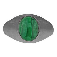 Oval-Cut Malachite Custom Men's Pinky Ring In Black Rhodium Plated White Gold Gemologica.com offers a unique selection of mens gemstone and birthstone rings crafted in sterling silver and 10K, 14K and 18K yellow, white and rose gold. We have cool styles including wedding and engagement rings, fashion rings, designer rings, simple stone and promise rings. Our complete jewelry collection of gemstone rings for men can be seen here: www.gemologica.com/mens-gemstone-rings-c-28_46_64.html