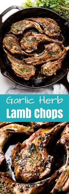 Garlic Herb Lamb Chops are easy to make and taste like they came from a high end restaurant. You'll impress everyone at the table with this delicious lamb recipe! #thestayathomechef #lambchops