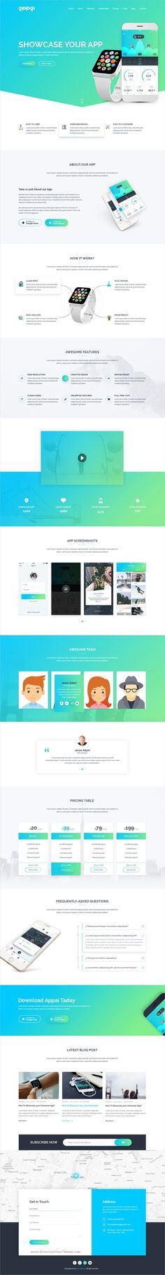 APPAI is a powerful #Photoshop #template for #Apps Landing page websites with 3 homepage layouts and 10 organized PSD pages download now? https://themeforest.net/item/appai-responsive-app-landing-psd-template/19357963?ref=Datasata