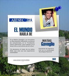"""El es Matías Gaveglio y se encuentra en Barranquilla realizando su práctica de voluntariado, en la """"Fundación Salud y Bienestar"""" para trabajar en el desarrollo y crecimiento de los niños!  ¡Te deseamos el mejor de los éxitos Mati, que esta sea una experiencia inolvidable!"""