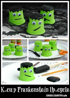 Halloween project for kids- adorable Frankenstein K-cup up-cycle! Great for class parties or quality time with children on a cozy fall day!