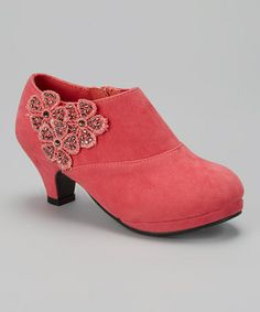 Another great find on #zulily! Coral Floral Embellished Bootie by Anna Shoes #zulilyfinds