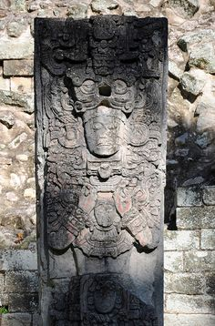 Ancient Maya statue at Copan, UNESCO World Heritage Site.