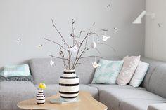 Pillows - spring pastell pillows and grey sofa
