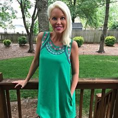 Elegance in Kelly Green Dress Last One!! Swing cut with keyhole back and delicate embroidery in pinks and blues  around sleeves and collar! Statement dress! With pockets! Dresses