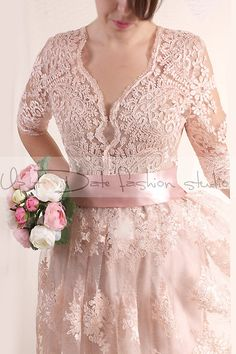 Hey, I found this really awesome Etsy listing at https://www.etsy.com/listing/218048899/plus-size-lace-short-blush-pink-wedding