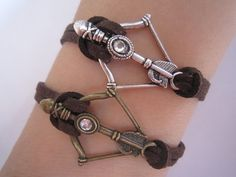 Disney Brave Inspired Merida Bow Bracelet / Bronze and Silver, Brown Leather Rope