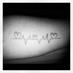 Image result for heartbeat tattoo with three hearts in it