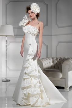 High Quality Organza&Satin Fabric Straps Neckline Wedding Dress