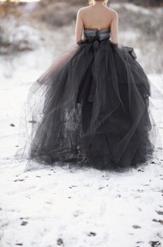 black tulle ball gown in snow #winter #camillestyles