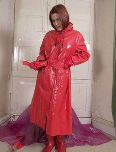 Raincoats For Women Christmas Gifts Key: 7512255611 Red Raincoat, Vinyl Raincoat, Raincoat Jacket, Plastic Raincoat, Rain Jacket, Raincoats For Women, Jackets For Women, Imper Pvc, Parka