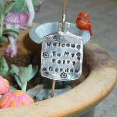 Welcome to my Fairy Garden Miniature Pewter Fairy Garden Sign by #DolphinMoonCreations #etsygifts