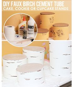 This has to be one of my favorite DIY Projects I've done! From start to finish it was so fun creating these Faux Birch Stands! I made them out of Cement Tubes… and used them as stands for my dessert table! I had seen similar items to purchase…but I wanted a grouping and my budget was slim to none..so it was the perfect opportunity to do it myself! Here's how I MADE them..and at the end of the post see how I USED them! FAUX BIRCH STANDS SUPPLIES: Cement Tube (Home Improvement Store) Wood…