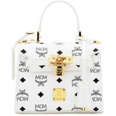 MCM Heritage Mini Satchel Bag ($1,000) ❤ liked on Polyvore featuring bags, handbags, white, white satchel, handbag satchel, locking purse, clasp purse and mini purses