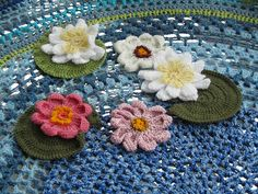 Crocheted pond with water lilies