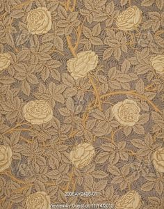 Rose wallpaper, by William Morris, for Morris & Co. England, 1877