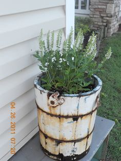 Re-Purposed Vintage Ice Cream Bucket Freezer NOW PLANTER...