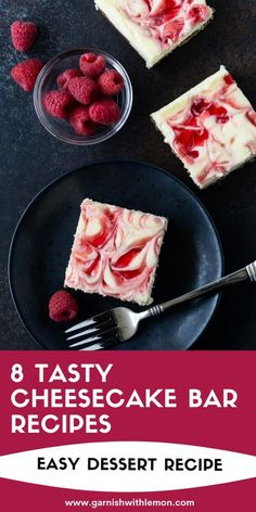 Cheesecake bars are one of our go-to desserts for a group. With this collection of 8 Tasty Cheesecake Bar recipes, you can be sure there is something for everyone! Easy No Bake Desserts, Easy Cookie Recipes, Homemade Desserts, Easy Dinner Recipes, Bar Recipes, Vegan Recipes, Cooking Recipes, Gluten Free Bars, Homemade Snickers