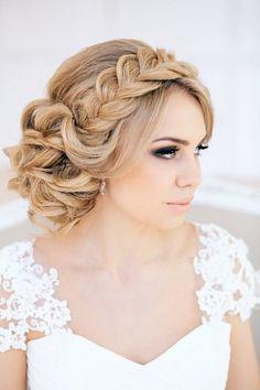 french braided wedding crown hairstyle / http://www.deerpearlflowers.com/beautiful-wedding-hairstyle-ideas/
