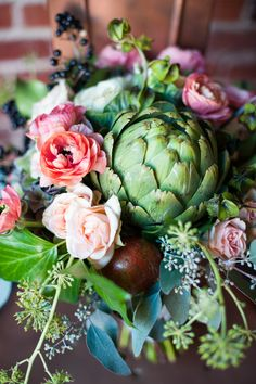 Wedding Centerpiece | Add Fruits or Vegetables | Artichoke | On SMP: http://www.stylemepretty.com/2013/11/28/the-gathered-table-inspiration-from-bare-root-flora | Photography: Sarah Box Photography