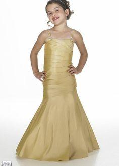 2015 Ruched Floor Length Yellow Spaghetti Straps Satin Sleeveless Mermaid Flower Girl Dresses By Alexia FGD20