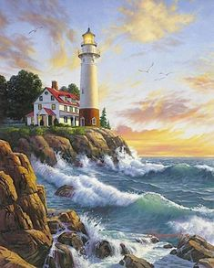Needlework Crafts Embroidery Counted Cross Stitch Kits Lighthouse On Rocky Point Counted Cross Stitch Kits, Cross Stitch Charts, Cross Stitch Patterns, Cross Stitching, Cross Stitch Embroidery, Embroidery Kits, Dimensions Cross Stitch, Lighthouse Painting, Cross Stitch Landscape