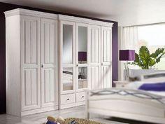 Bílá šatní skříň 6 dveřová Adana masiv