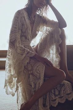 Flares Sleeve Lace Long Cover Up With Belted | girlyrose.com