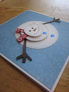 cute card idea - maybe Christmas thank you notes? Christmas Thank You, Noel Christmas, Christmas Ideas, Holiday Crafts, Holiday Fun, Snowman Cards, Sock Snowman, Snowmen, Winter Cards