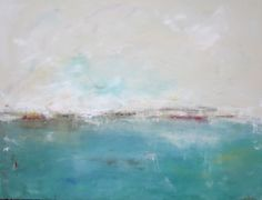 Abstract Seascape Ocean Original Painting on Canvas- Calm with Red 40 x 30