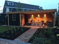 Design Patio, Back Garden Design, Backyard Patio Designs, Backyard Landscaping, Backyard Cabin, Backyard Office, Backyard Pavilion, Corner Summer House, Summer House Garden