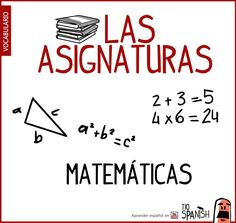 matematicas, nombre de las asignaturas en español