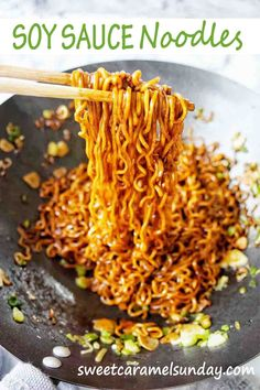 Easy recipe for Soy Sauce Noodles! This simple stir fry recipe works to give taste and texture to a quick noodle dish. #soysaucenoodles #noodles #dinnerrecipes @sweetcaramelsunday Side Salad Recipes, Stir Fry Recipes, Side Dish Recipes, Soy Sauce Noodles, Stir Fry Noodles, Best Chinese Food, Chinese Recipes, Food Words, Most Popular Recipes