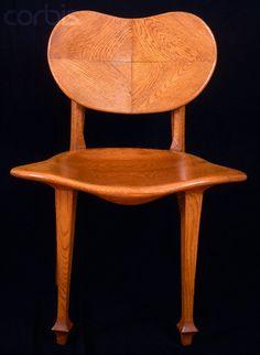 Antonio Gaudi (1852-1926) - Side Chair.  Carved Oak. Circa 1894. Photo by  Massimo Listri / CORBIS.