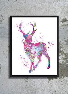 Deer Watercolor Print Reindeer Christmas poster Stag Decor Deer painting Horn Christmas Wall Decor Girl Boy room Wall Art Deer Home Decor