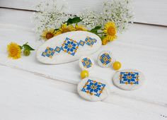 Ethnic  Stud Earrings French barrette embroidered jewelry