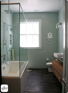 Small Bathroom Makeovers, Small Master Bath Remodel - toilet needs to be on same wall as vanity - shower / tub in one? Small Shower Baths, Bathroom Tub Shower, Small Bathroom With Shower, Narrow Bathroom, Small Showers, Tub Shower Combo, Upstairs Bathrooms, Bathroom Renos, Glass Shower
