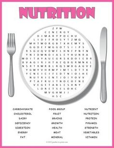 Kids have to look in all directions, including diagonally and backwards, to find the 21 nutrition vocabulary words hidden in this word search worksheet. This printable activity would make a great hand out for early finishers or as a treat to take home.