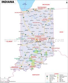 Indiana map showing the major travel attractions including cities, points of interest, and more.