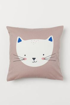 Cotton Twill Cushion Cover - Light pink/cat - Home All Pink Cat, Blue Cats, Cat Bedroom, Bedroom Ideas, Beige Bed Linen, Wall Decor Design, Bed Linen Design, Cat Quilt, Brown Dog